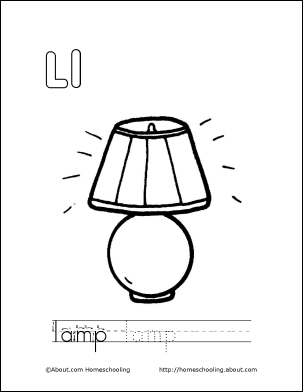 Letter L Coloring Book Free Printable Pages Book lamp