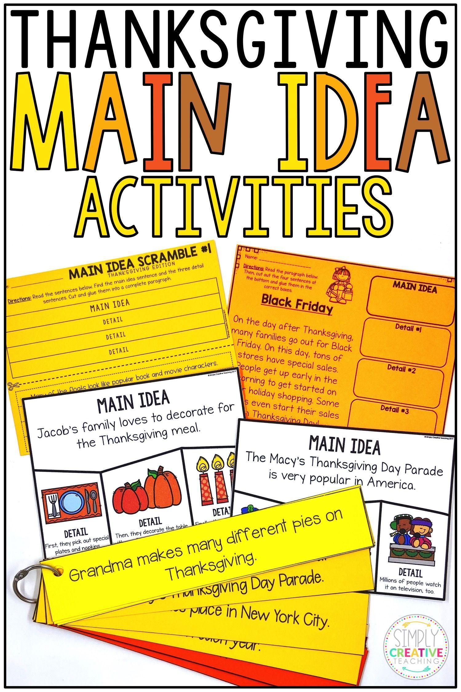 Thanksgiving Main Idea Amp Details Activities
