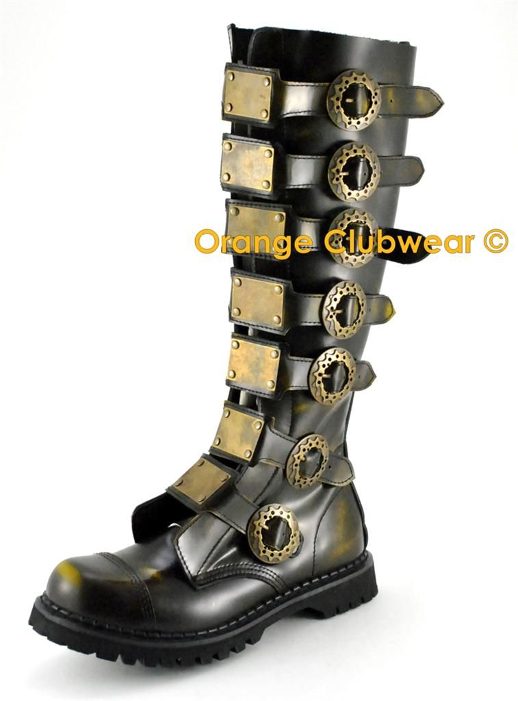 DEMONIA STEAM-30 Steampunk Gothic Mens Rub-Off Bronze Leather Boots SIZE 9