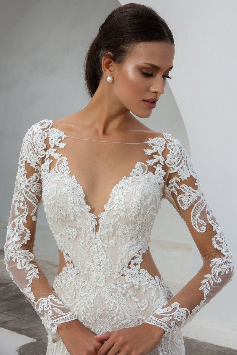 a592d6151820 Justin Alexander - Style 88010: Lace Fit and Flare Gown with Illusion Long  Sleeves