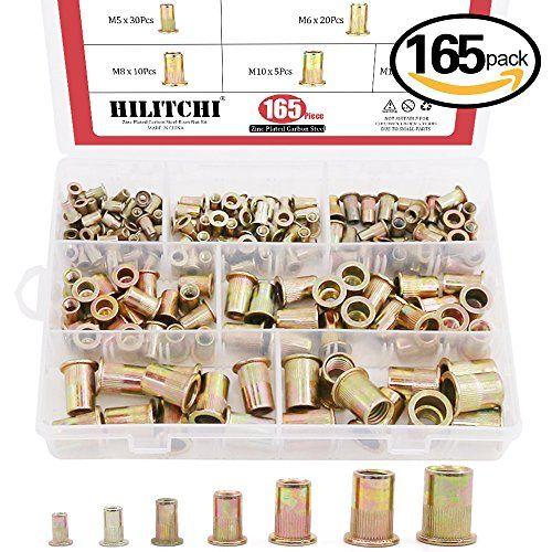 Hilitchi 150pcs Mixed Zinc Plated Carbon Steel Rivet Nut