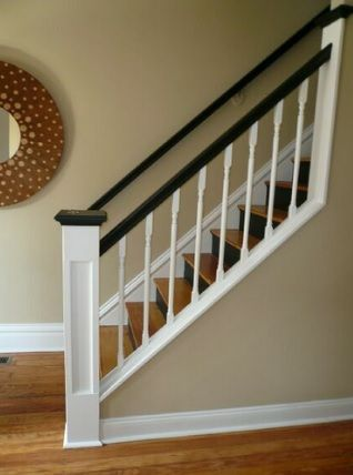 Tradition staircase with a modern take: treads are stained wood ...