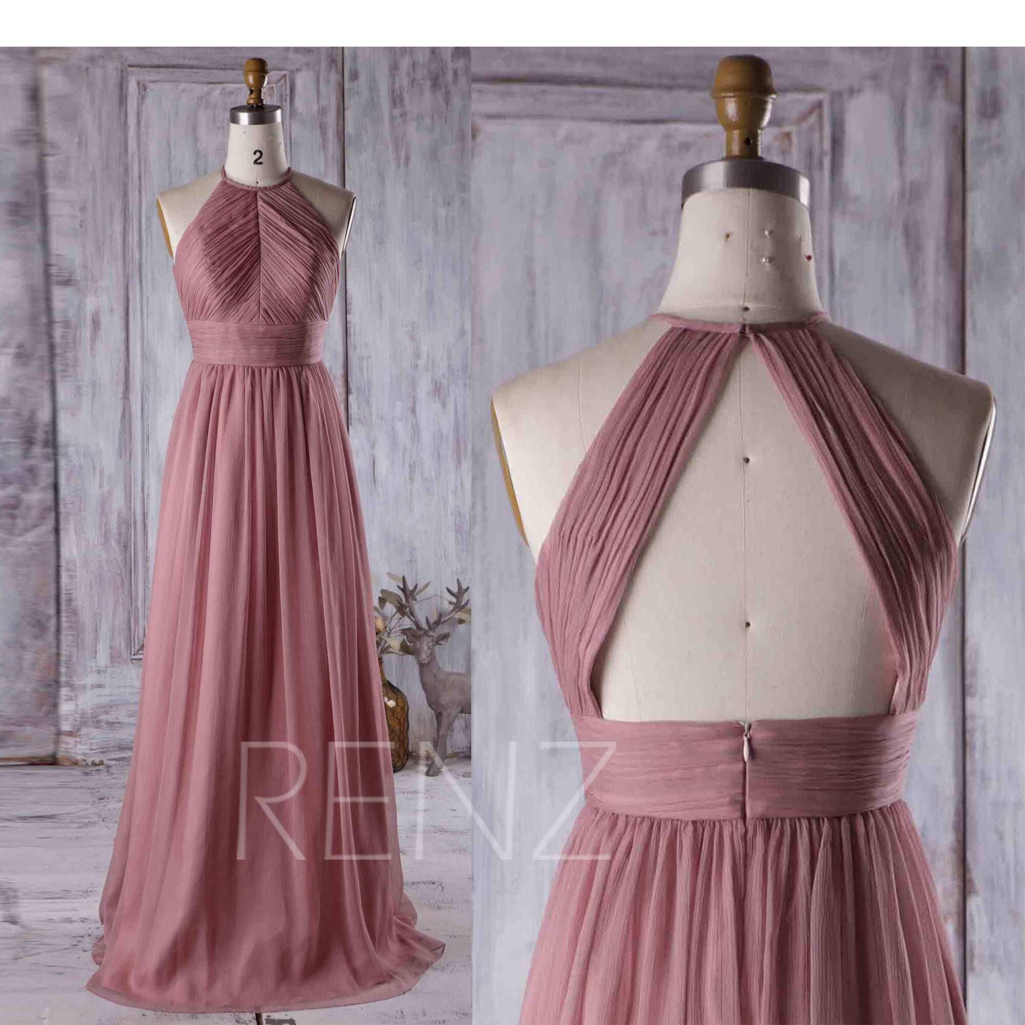 Bridesmaid Dress Dusty Rose Wedding Dress Ruched High Neck Prom