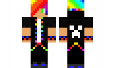 Minecraft Skin Green Eye Rainbow Boy Minecraft Skins