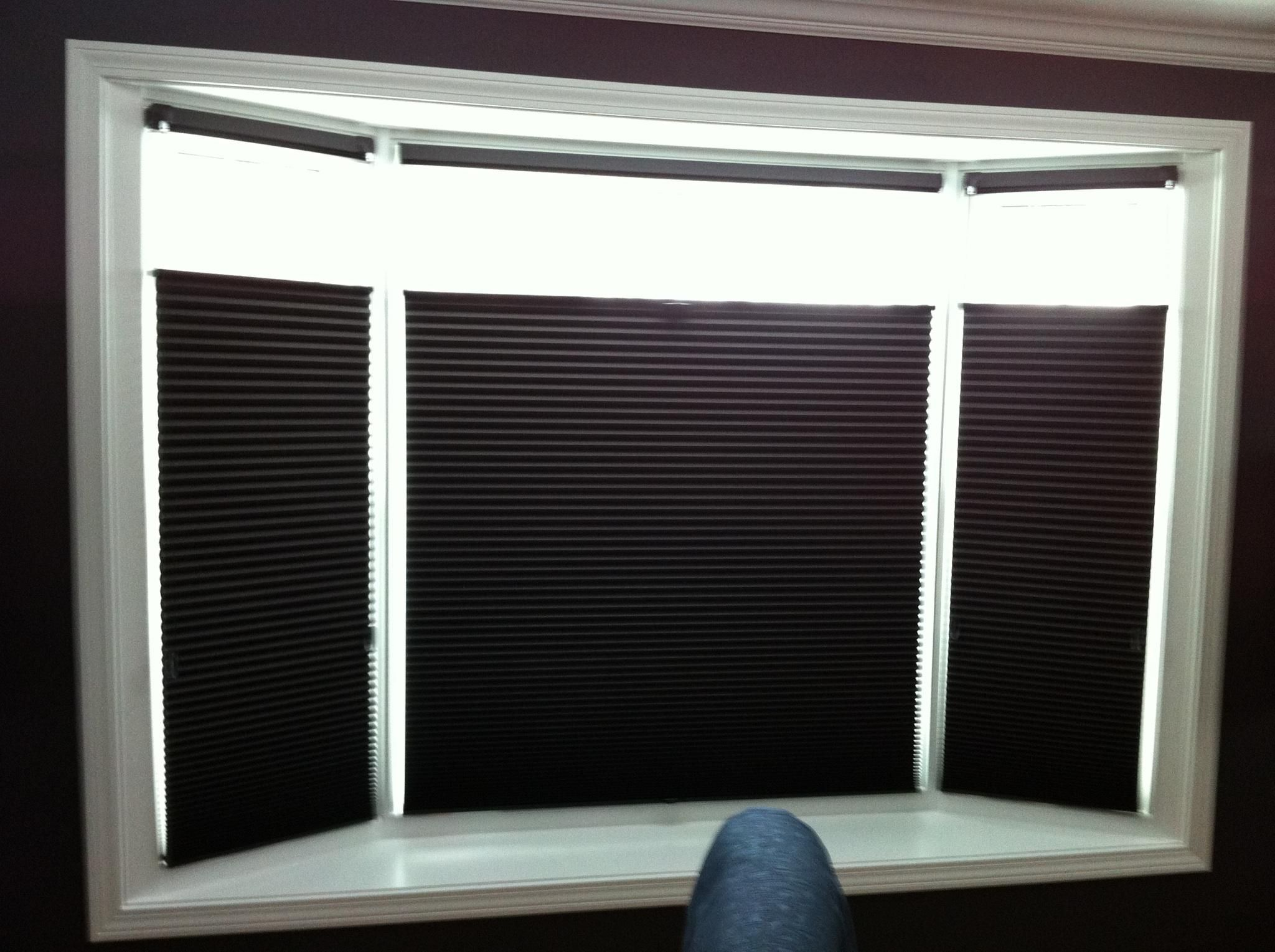 Hunter douglas black duette cellular shades with bottom to for Best shades for windows