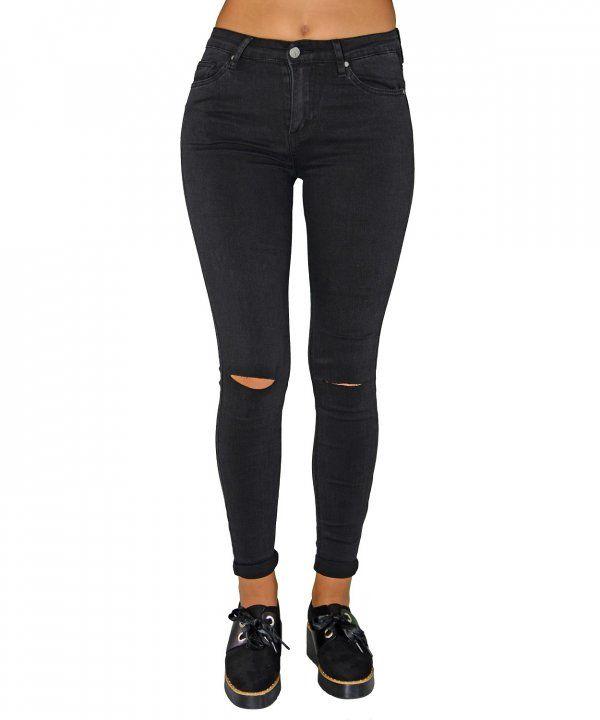 Γυναικείο μαύρο τζιν με σκίσιμο στο γόνατο CY881  γυναικείατζιν  παντελόνια   μόδα  γυναίκα f05ae9f89f4