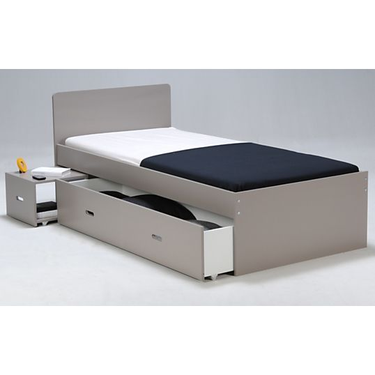 Lit Rangement Wandy 90 Cm Laque Gris Lit Rangement Mobilier De Salon Et Structure De Lit