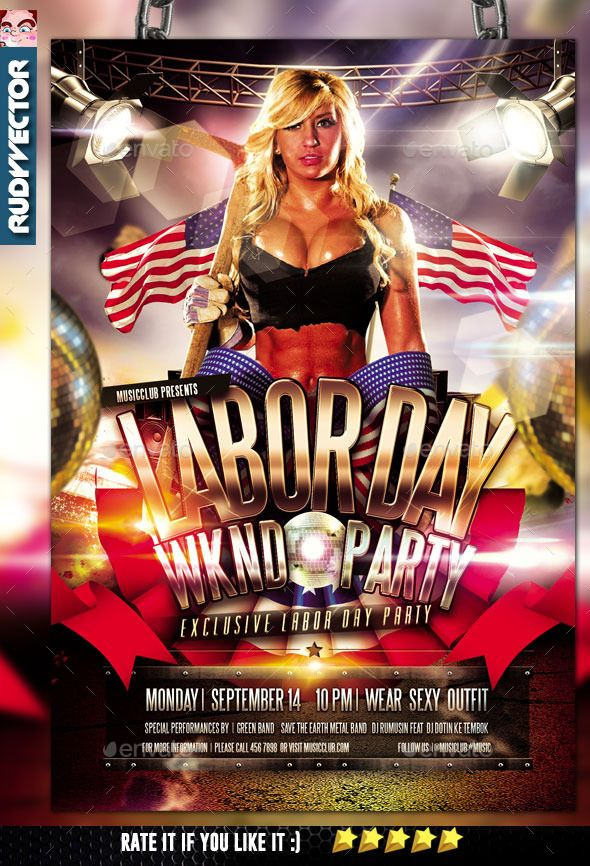 Labor Day Weekend Party Flyer Template #design Download:  Http://graphicriver.net/item/labor Day Weekend Party Flyer /12596925?refu003dksioks