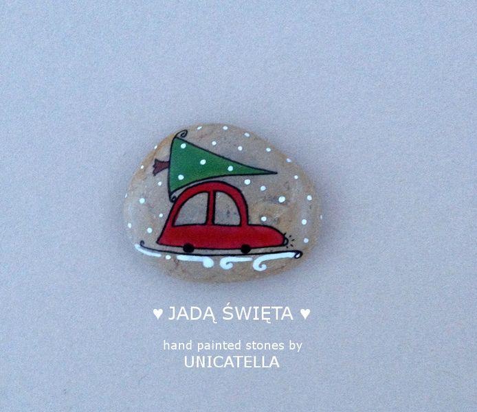 Magnes świąteczny - Jadą święta w Unicatella - kamienie ręcznie malowane na DaWanda.com
