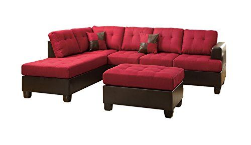 Poundex Bobkona Winden Blended Linen 3 Piece Reversible Sectional Sofa With  Ottoman Carmine Review ...