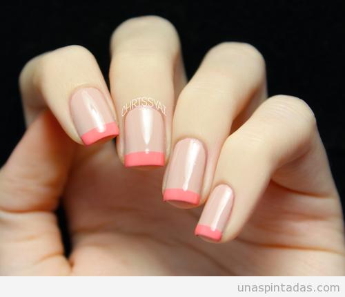Manicura Francesa Con Colores Rosa Palo Y Coral Uñas