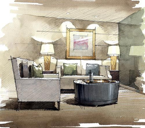 Simple Sitting Room Sketch Avec Images Dessin Architecture
