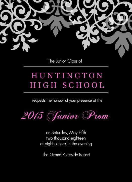 Black And Gray Flourish Prom Invitation by PurpleTrail prom