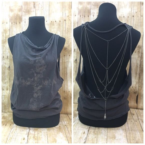 Chain back muscle tank This was never worn - brand sold at urban outfitters has a purposely faded cross design on front and chain is removable for washing Urban Outfitters Tops Tank Tops