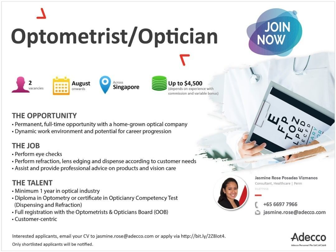 We Are Hiring Optometrist Optician Interested Applicants Email Your Cv To Jasmine Rose Adecco Com Jobs Jobsearch Local Jobs Hiring Hiring Now Optometrist