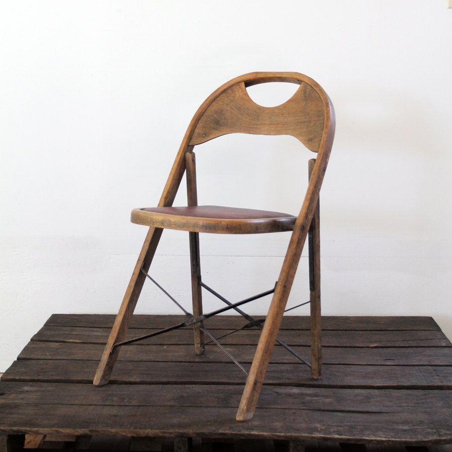 Vintage Folding Chair // Wood & Metal Folding Chair. $88.00, via Etsy. - Vintage Folding Chair // Wood & Metal Folding Chair Metal Folding