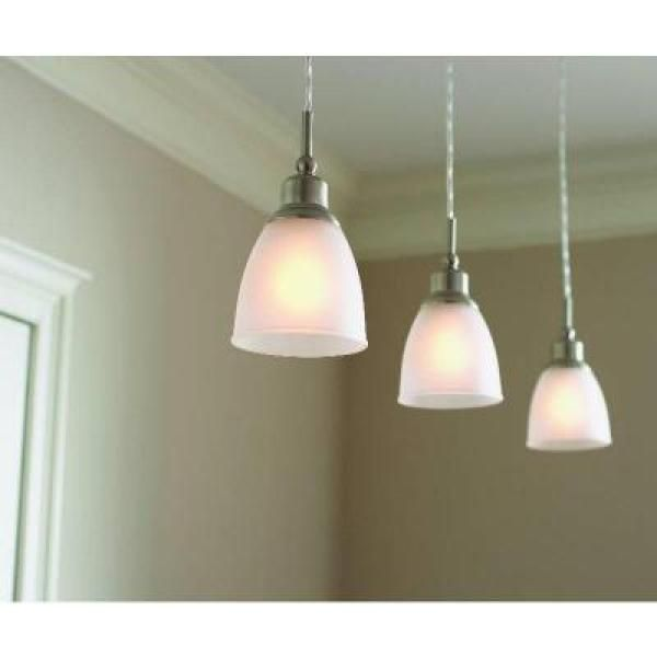 Commercial electric 1 light brushed nickel mini pendant 3 pack commercial electric 1 light brushed nickel mini pendant with frosted white glass shade 3 pack hbv8991 bn the home depot workwithnaturefo