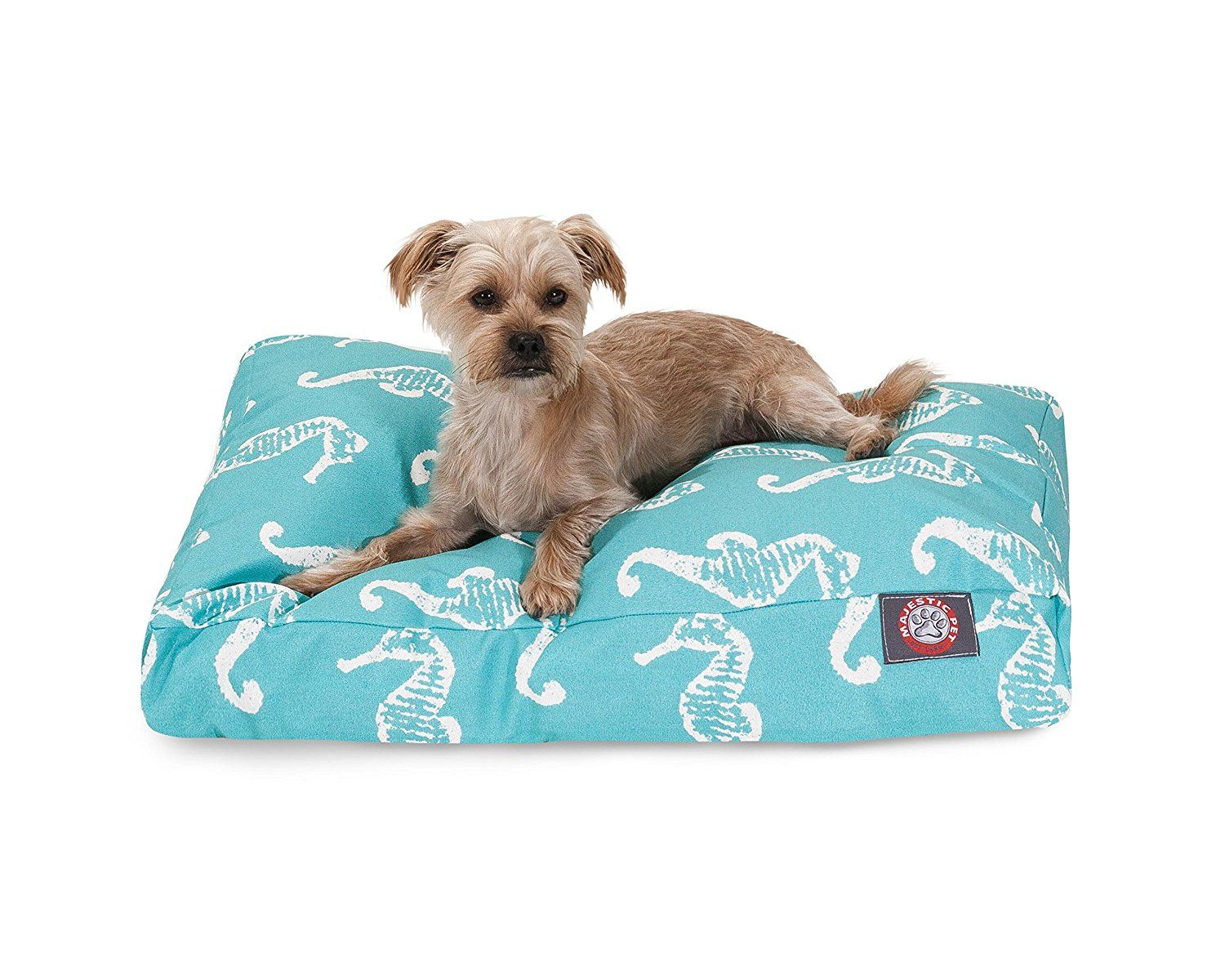 Teal Sea Horse Small Rectangle Indoor Outdoor Pet Dog Bed