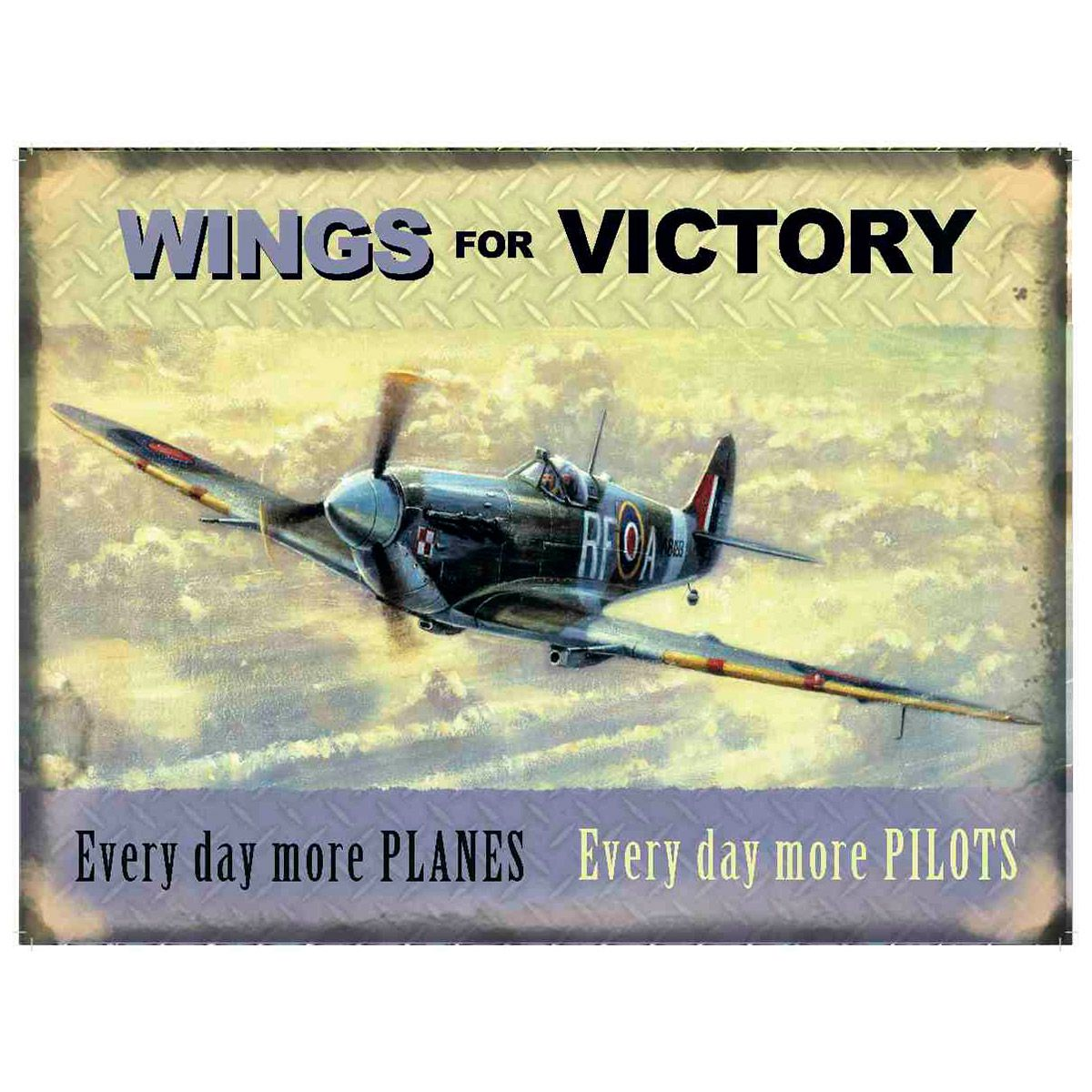 Small Metal Tin Sign Spitfire Plane Pilot RAF War Vintage Wings for Victory
