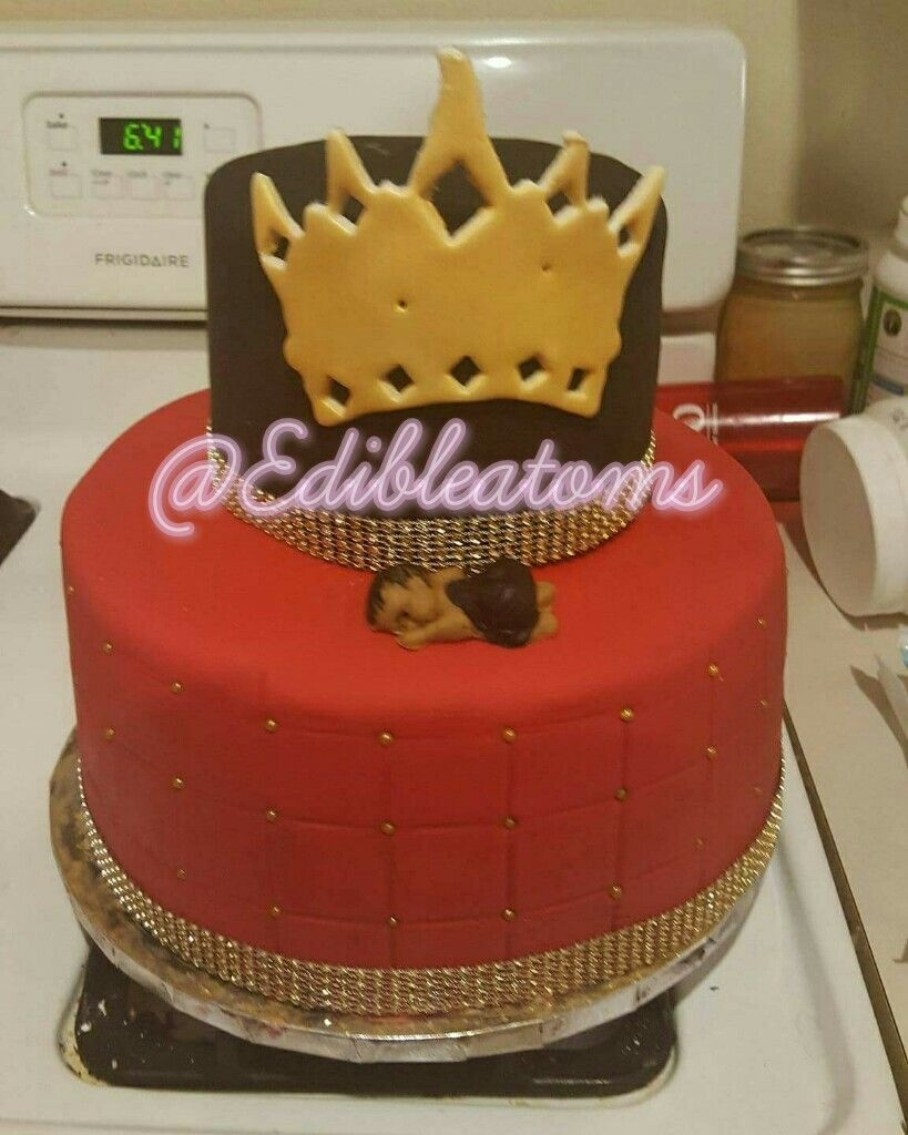 Red and black baby shower cake