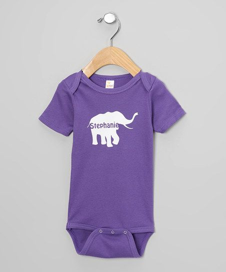 Purple & White Personalized Elephant Bodysuit - Infant