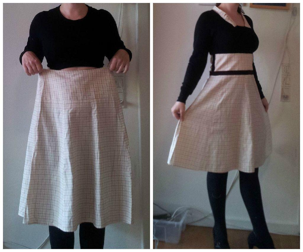 Plaid skirt and and longsleeve temnant to dress refashion upcycle DIY Saga i farver: Ternet nederdel og langærmet til fiks kjole.