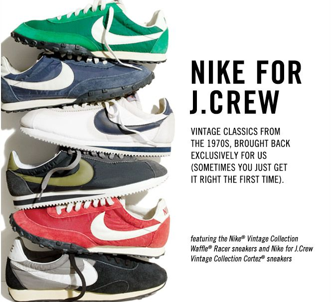 Nike for J.Crew Waffle Racer and Cortez sneakers
