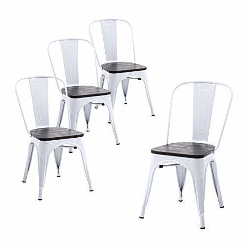 Terrific Buschman Set Of Four White Wooden Seat Tolix Style Metal Squirreltailoven Fun Painted Chair Ideas Images Squirreltailovenorg