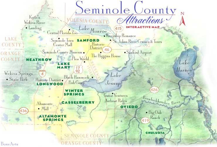 Central Florida County Map.Seminole County Map Absolutely Florida Sanford Florida