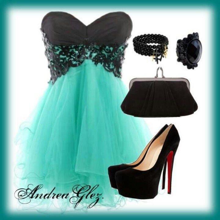 Zapatos para vestido negro con verde