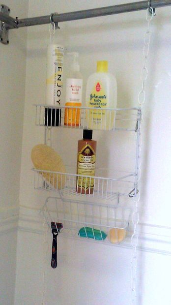 DIY shower rack for clawfoot tub shower, with instructions.