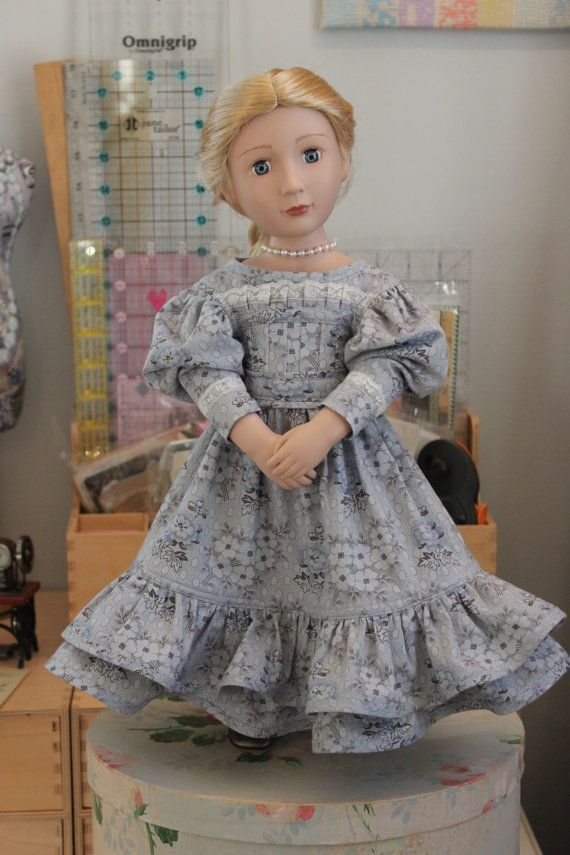 1830\'s Style Dress with Gigot Sleeve and Necklace for 16 Inch Doll ...