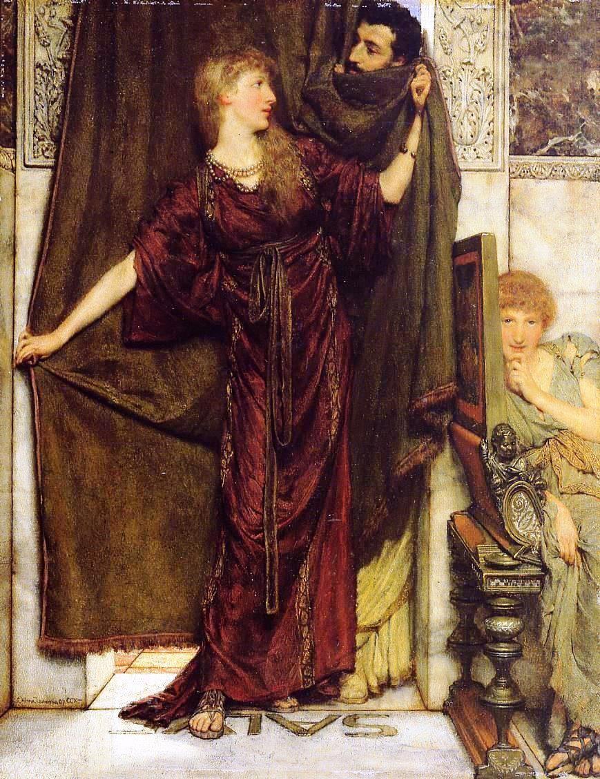 "peinture UK : Lawrence Alma-Tadema, 1879, ""Not at Home"", intérieur, style romain antique, 1870s, 19e siècle"