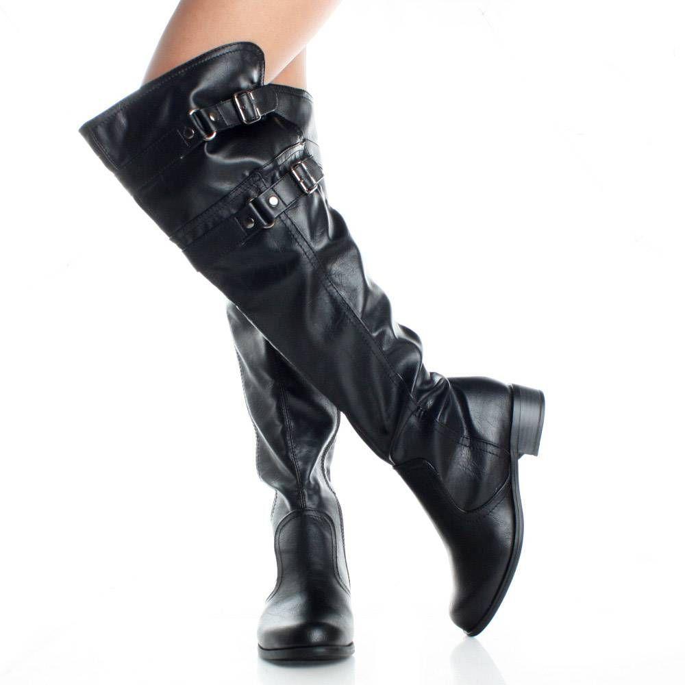 656436b16b7 Black Thigh High Boots Riding Motorcycle Flat Tall Biker Buckle Womens