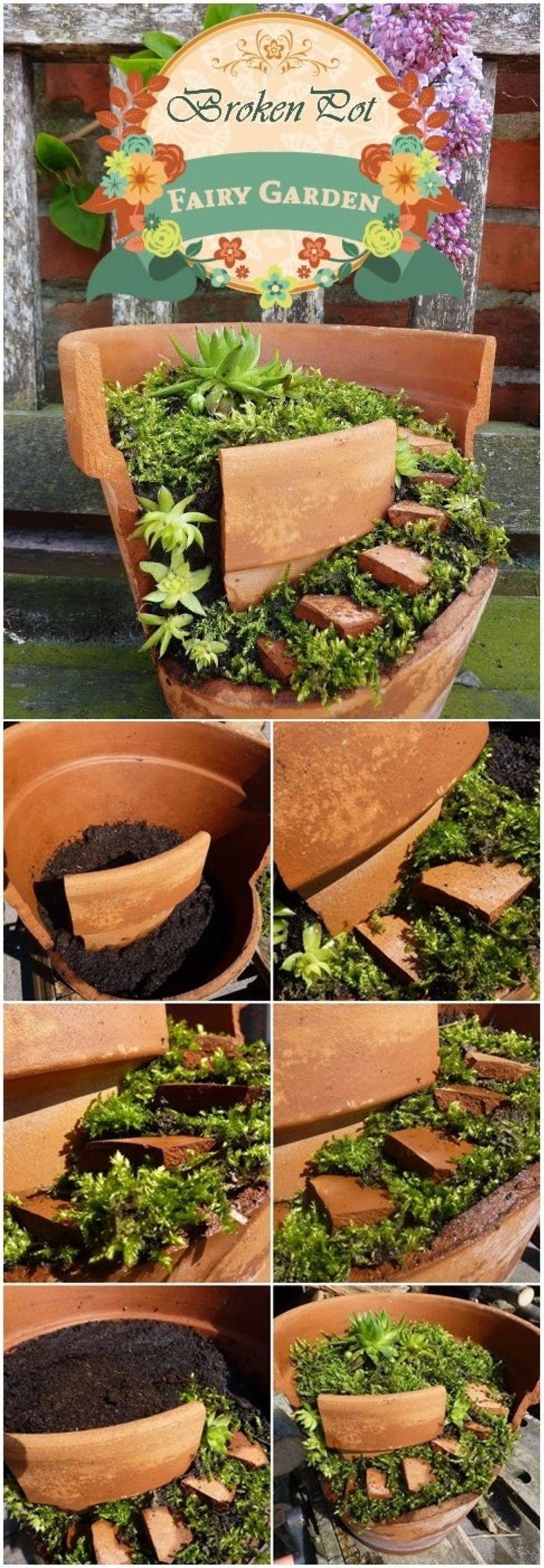 Make A DIY Broken Pot Fairy Garden! | Fairy gardens | Pinterest
