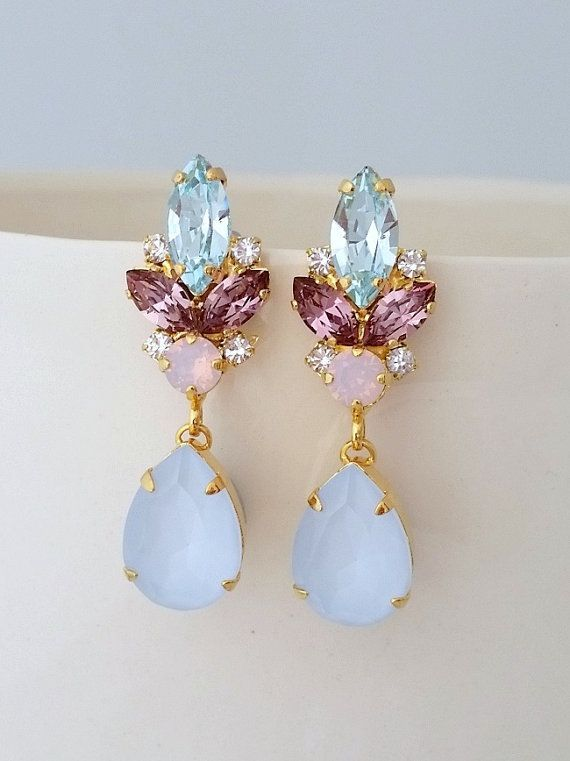 Blue Pink Earrings Bridal Opal Chandelier Wedding