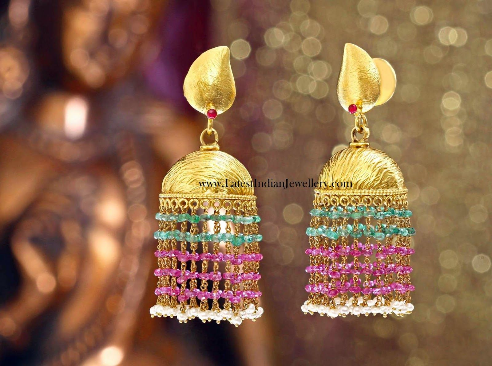 And contemporary gold jhumkas collection by khazana jewellery - 22 Kt Gold Stylish Indian Gold Earrings In Jhumka Style With A Brushed Finish Light Weight Gold Jhumka Earrings With Ruby Emerald Long Chains Hanging From