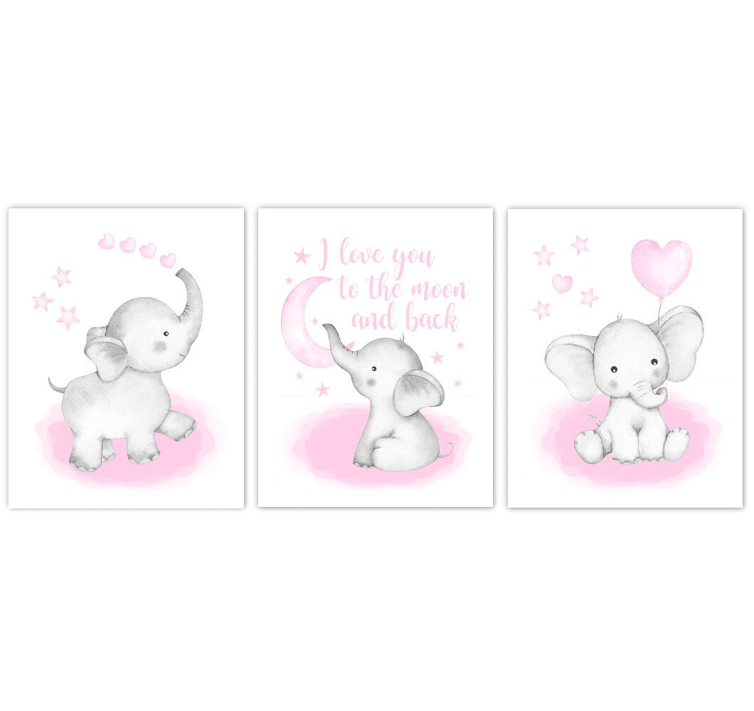 Watercolor Pink Elephants Baby Nursery Art Elephant Wall Decor
