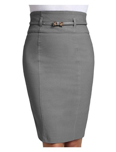 LE3NO Womens Plus Size High Waisted Midi Skirt with Belt LE3NO