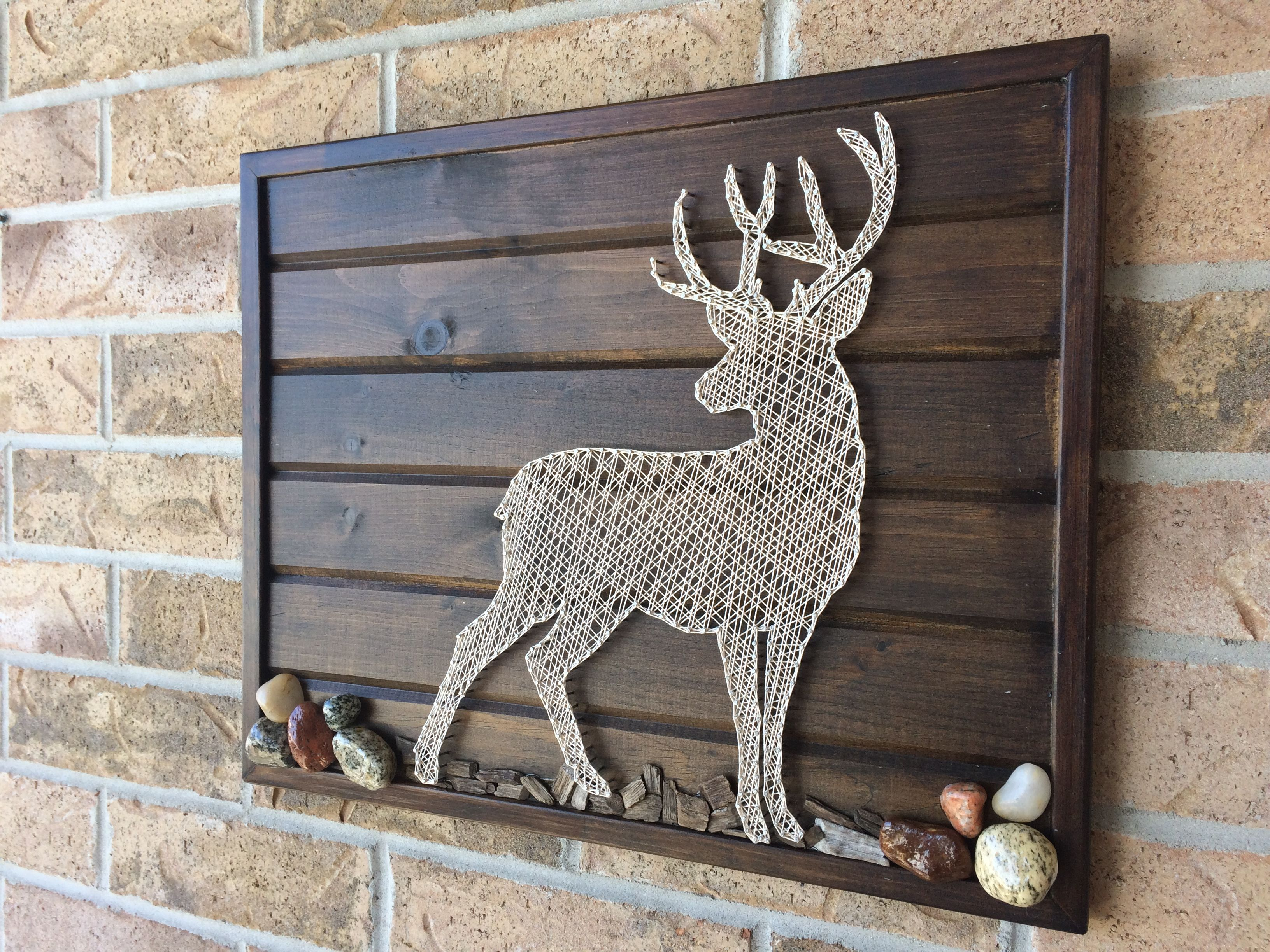 String Art Buck - Rocks and mulch on tounge and groove wood with ...
