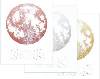 Metallic Moon Luna Art Print Gold Copper Silver By Alittlelark Moon Art Print Moon Phase Calendar Moon Calendar