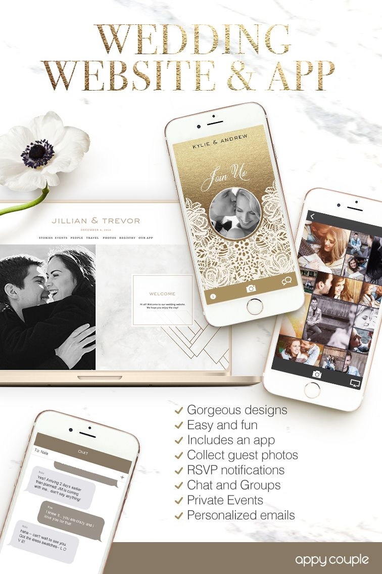 Your beautiful wedding website and app. Photos, events and