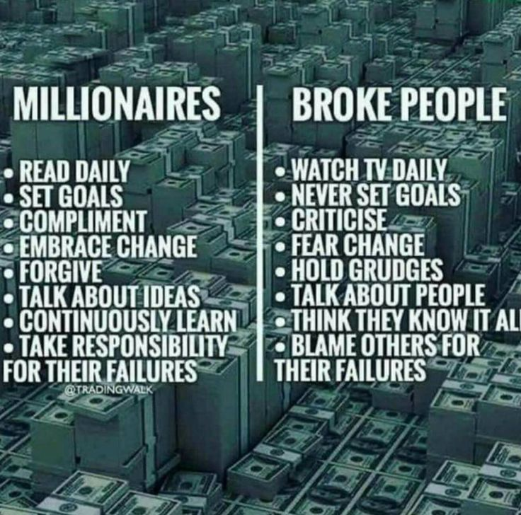 Millionaires vs. Broke People Just so you know the