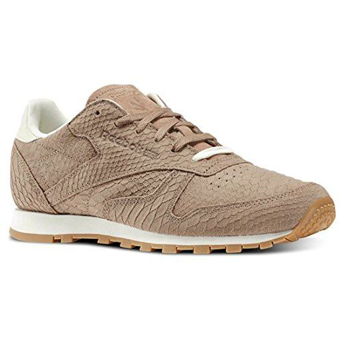 Reebok V68797 Women's Classic Leather Clean Exotics Running Shoes, Taupe/ Chalk - 8 Reebok