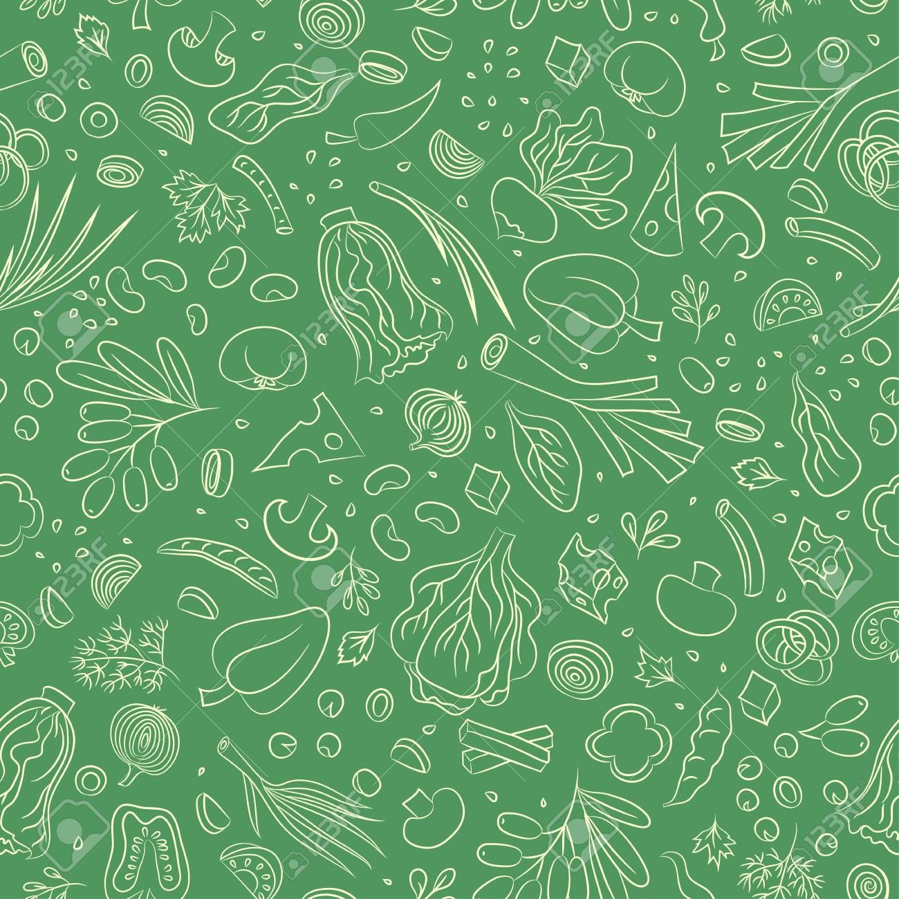 Veggie Seamless Pattern With Vegetables Food Vector Background
