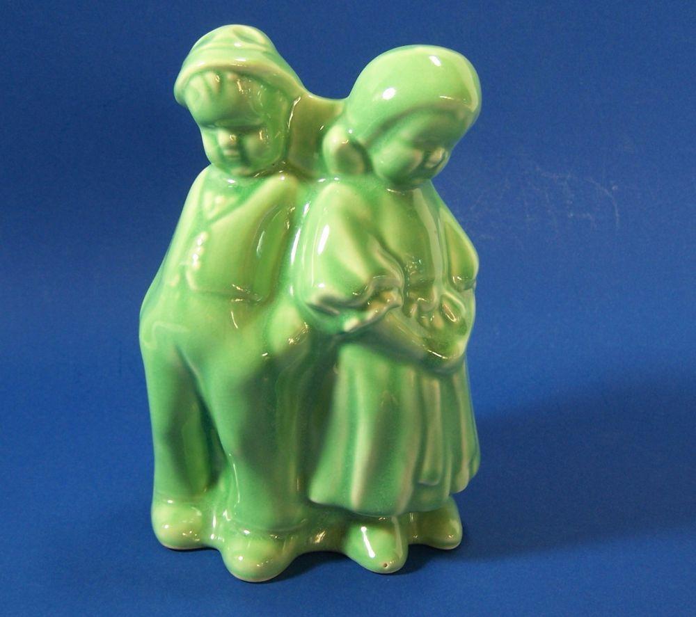 Mccoys Christmas Trees: Vintage Dutch Boy & Girl Planter Green Vase Standing