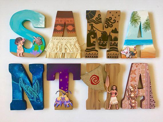 Moana themed letters home decor party decorations - Letras home decoracion ...