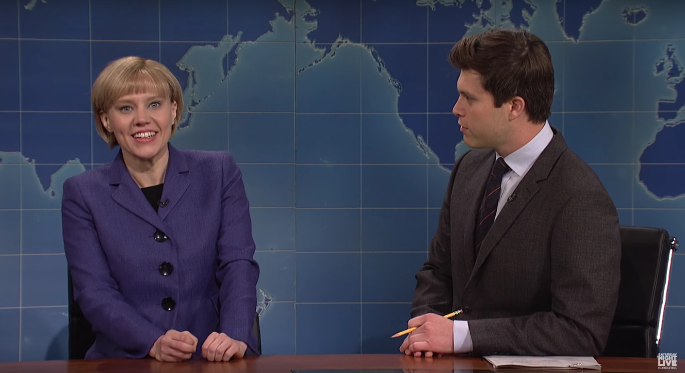 Kate McKinnon's Angela Merkel Mocks Trump on 'SNL' for