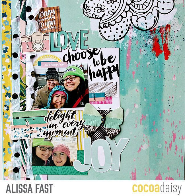 Choose to Be Happy, by Alissa Fast using the Flutterby collection from www.cocoadaisy.com #cocoadaisy #kitclub #scrapbooking #layout #DITL #diecuts #fussycut #tissue #recycle