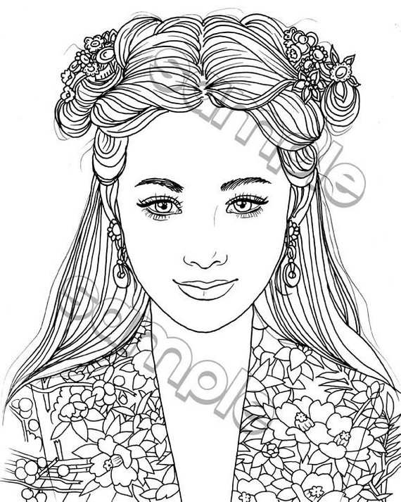 Pretty Smiling Girl Portrait Coloring Page By Maria J Etsy In 2020 Coloring Pages People Coloring Pages Coloring Pages To Print
